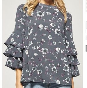 Tops - Blue Floral Ruffle Top